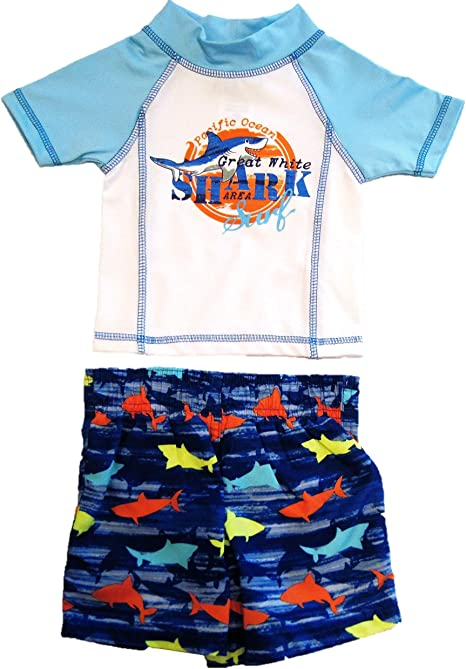 Coolest Dude Blue Whale Mick Mack Toddler Boys Two Piece Swim Trunks and Shirt Set