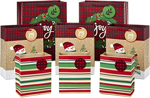 Amazon Com Hallmark Christmas Gift Bag Assortment Traditional Pack Of 8 Gift Bags 3 Small 6 3 Medium 9 2 Large 13 Snowmen Red Plaid Kraft Stripes Joy Wreath Kitchen Dining