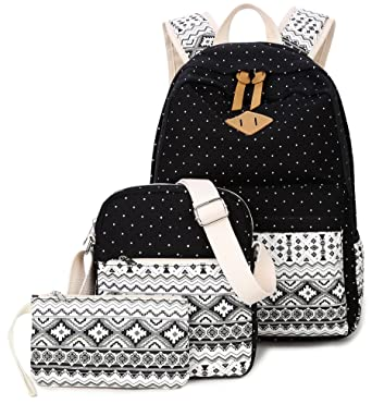 ce64e226be Goldwheat Fashion Dot Set Canvas School Backpack Lightweight Casual Laptop Bag  Teen Girls Boys School Shoulder