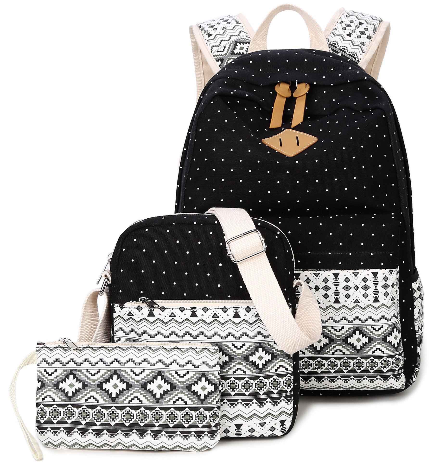 Goldwheat Fashion Dot Set Canvas School Backpack Lightweight Casual Laptop Bag Teen Girls Boys School Shoulder Bag Daypack Handbag(Black)