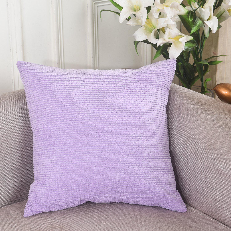 Home Brilliant Solid Decorative Toss Pillow Case Corn Corduroy Velvet Cushion Cover for Sofa, 18x18 inch (45cm), Violet