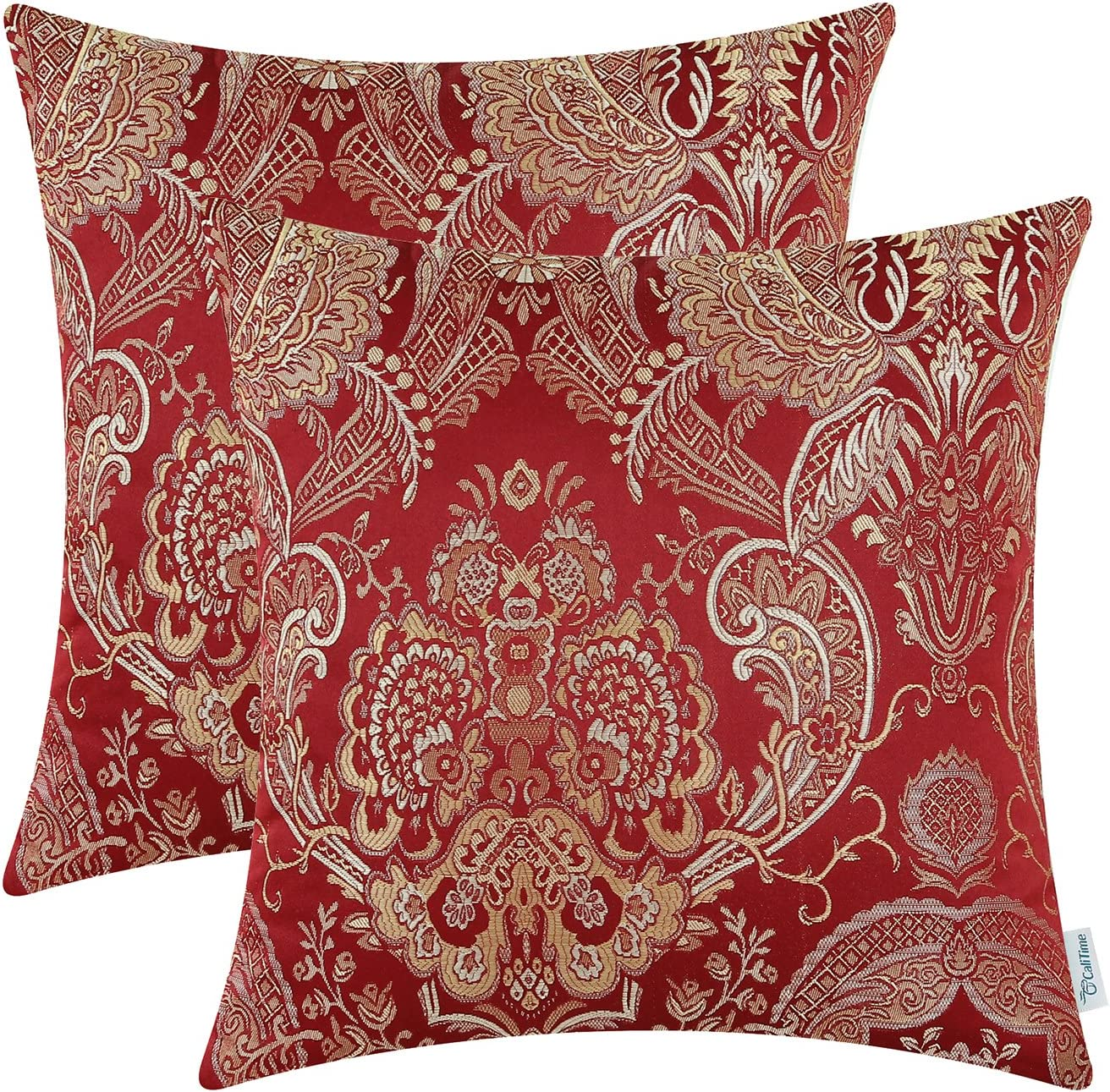 CaliTime Pack of 2 Supersoft Throw Pillow Covers Cases for Couch Sofa Home Decor Vintage Damask Floral 18 X 18 Inches Burgundy