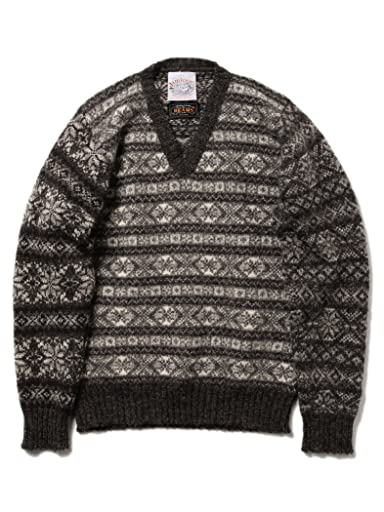Jamieson's Fairisle Crazy V-neck Sweater 11-15-0761-247: Snow