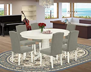 East West Furniture Kitchen Table Set 7 Pc - Dark Shitake Linen Fabric Kitchen Dining Chairs - Linen White Finish Solid Wood Pedestal Butterfly Leaf Small Table and Structure