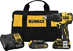 DEWALT DCD709C2 Atomic 20V Max Lithium-Ion Brushless Cordless Compact 1/2 In. Hammer Drill Kit W/ 2 Batteries