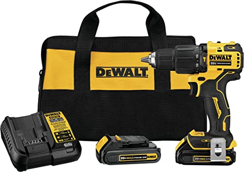 DEWALT DCD709C2 Atomic 20V Max Lithium-Ion Brushless Cordless Compact 1 2 in. Hammer Drill Kit W 2 Batteries