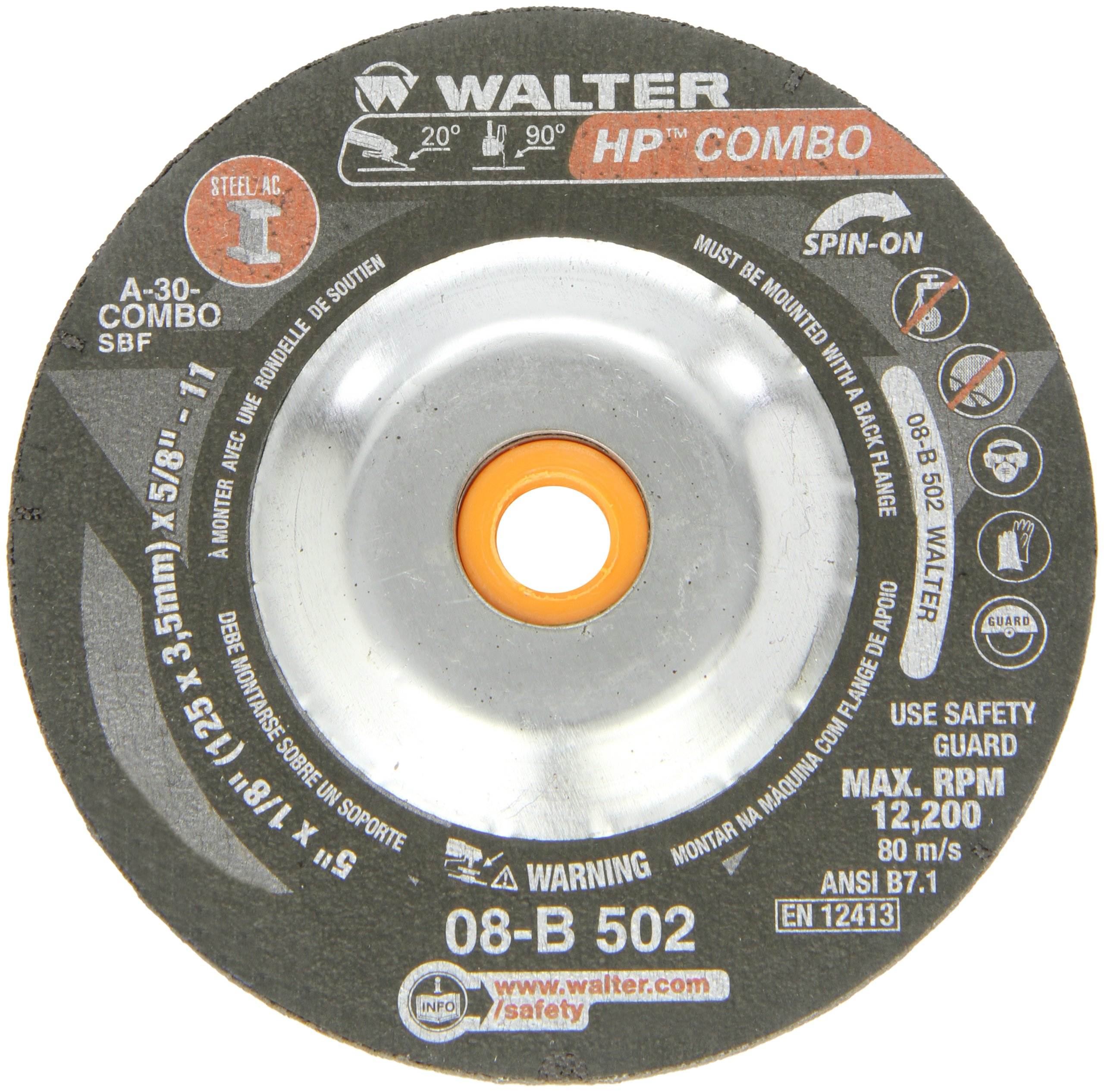 Walter HP Combo Grinding Wheel, Type 27, Threaded Hole, Aluminum Oxide, 5'' Diameter, 1/8'' Thick, 5/8''-11 Spin-On Arbor, Grit A-30-COMBO (Pack of 25) by Walter Surface Technologies