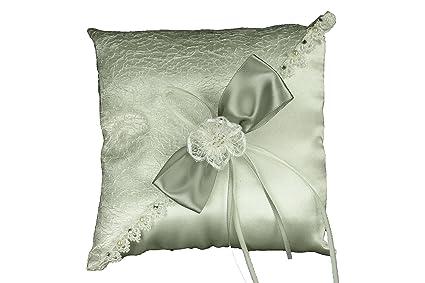 Amazon Com Ivory Wedding Ring Pillow With Sisal Mesh Design Satin