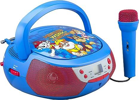 Gar/çons Bleu//Rouge Entr/ée aux-in RCD109PA Pile ou Secteur Prise Micro Lexibook-La Pat Patrouille-Lecteur CD Bluetooth pour Enfants-Portable Filles Effets Lumineux