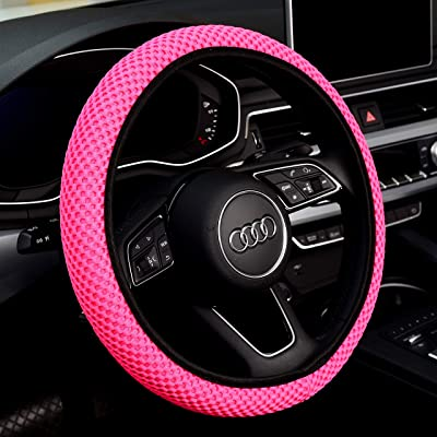 Labbyway New Steering Wheel Cover Elastic Ice Silk, Breathable, Anti-Slip, Odorless, Universal 15 inch (Pink): Automotive