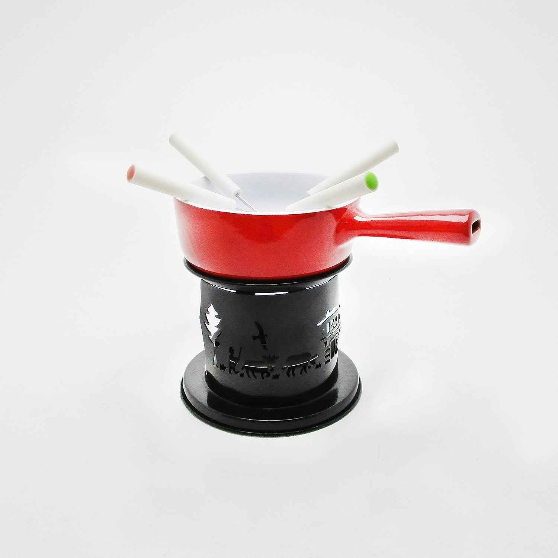 Mäser 931250 - Fondue de chocolate de 7 piezas, cerámica Fondue, hornillo, grabadora y tenedores de fondue para 4 personas, color negro/rojo: Amazon.es: ...