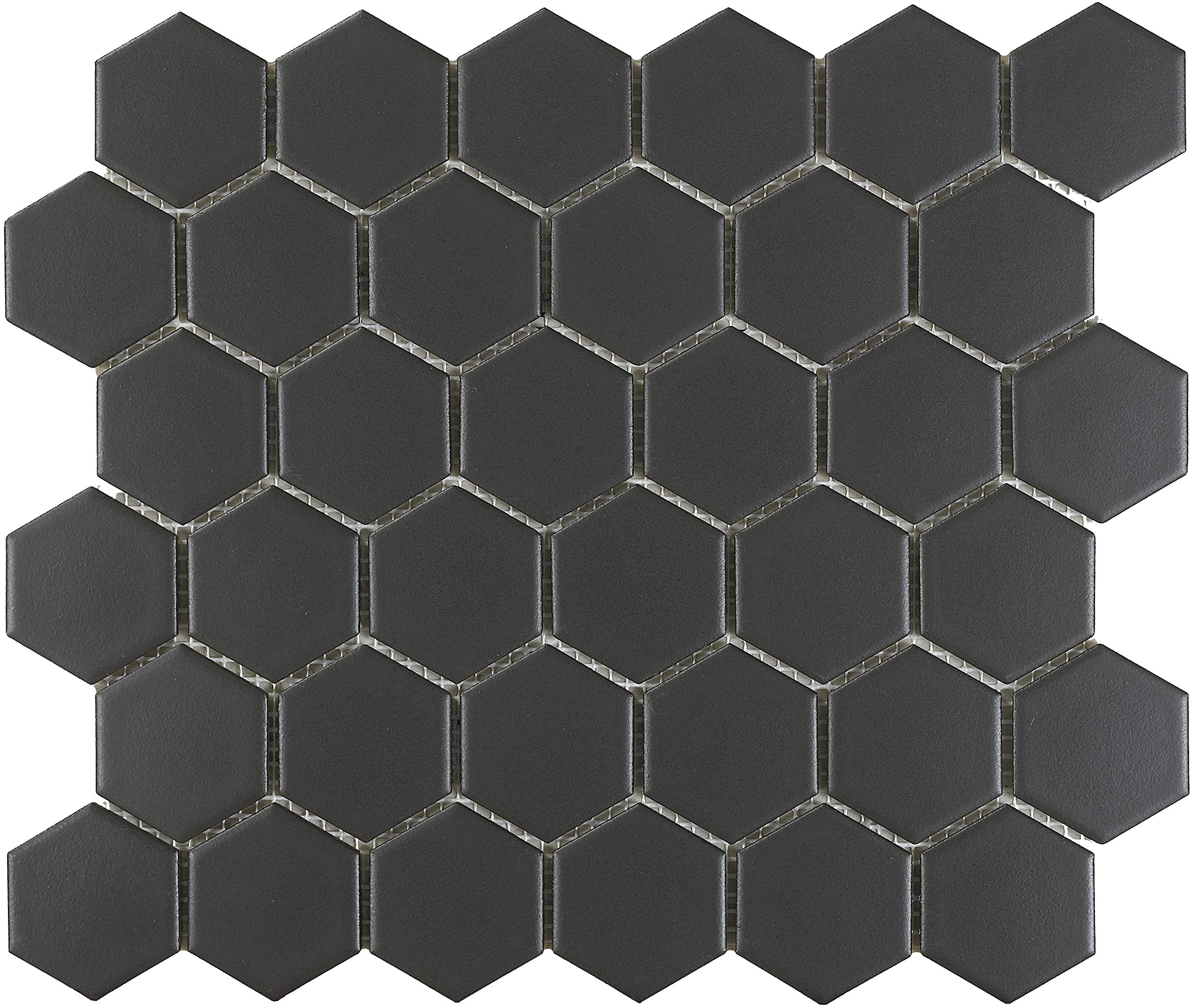 1 Carton/10 SQFT | Black 2'' Hexagon Mosaic Tile (Matte) by Thomas Avenue Ceramics