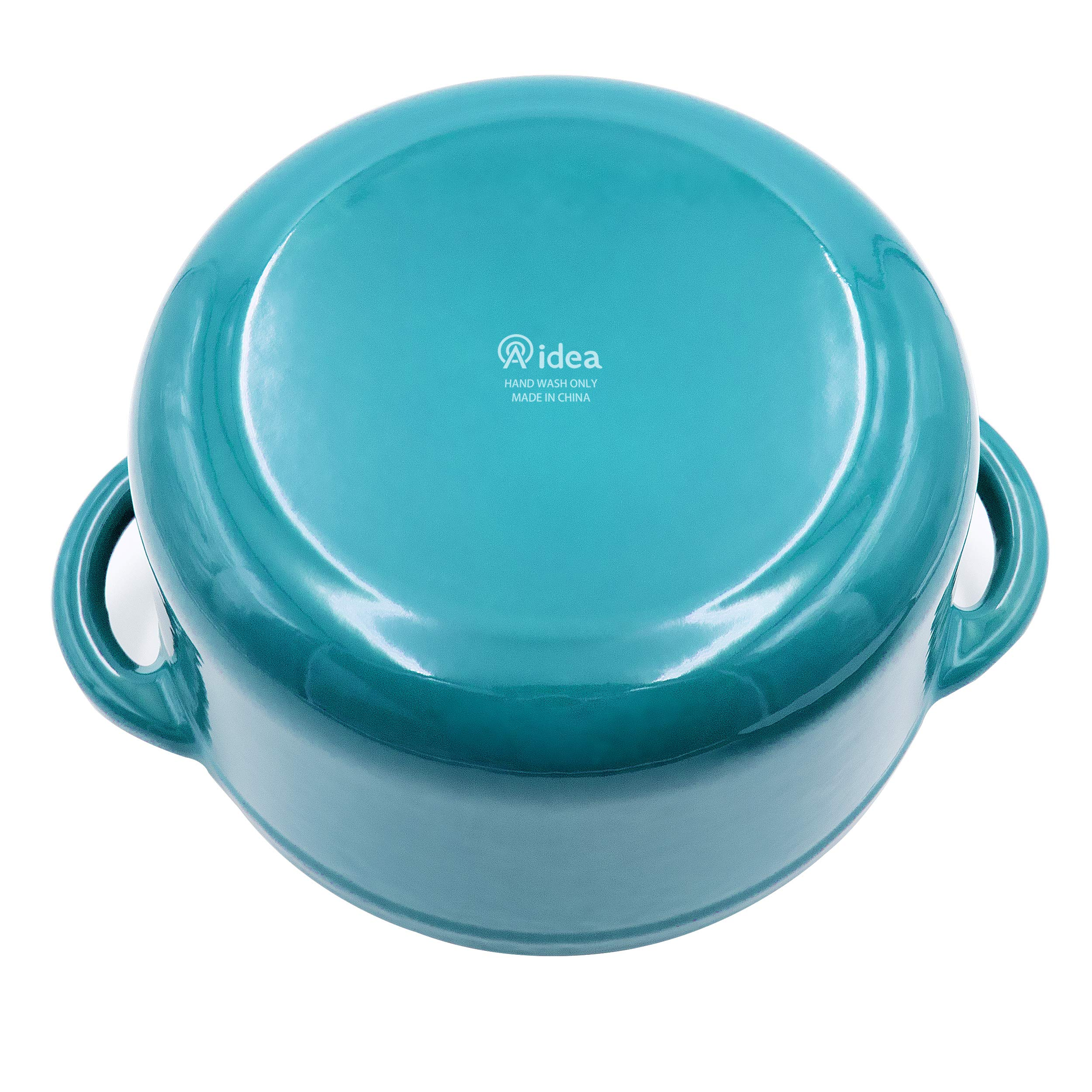 Enameled Cast Iron Dutch Oven - 5-Quart Turquoise Blue Round Ceramic Coated Cookware French Oven with Self Basting Lid by AIDEA by AIDEA (Image #5)