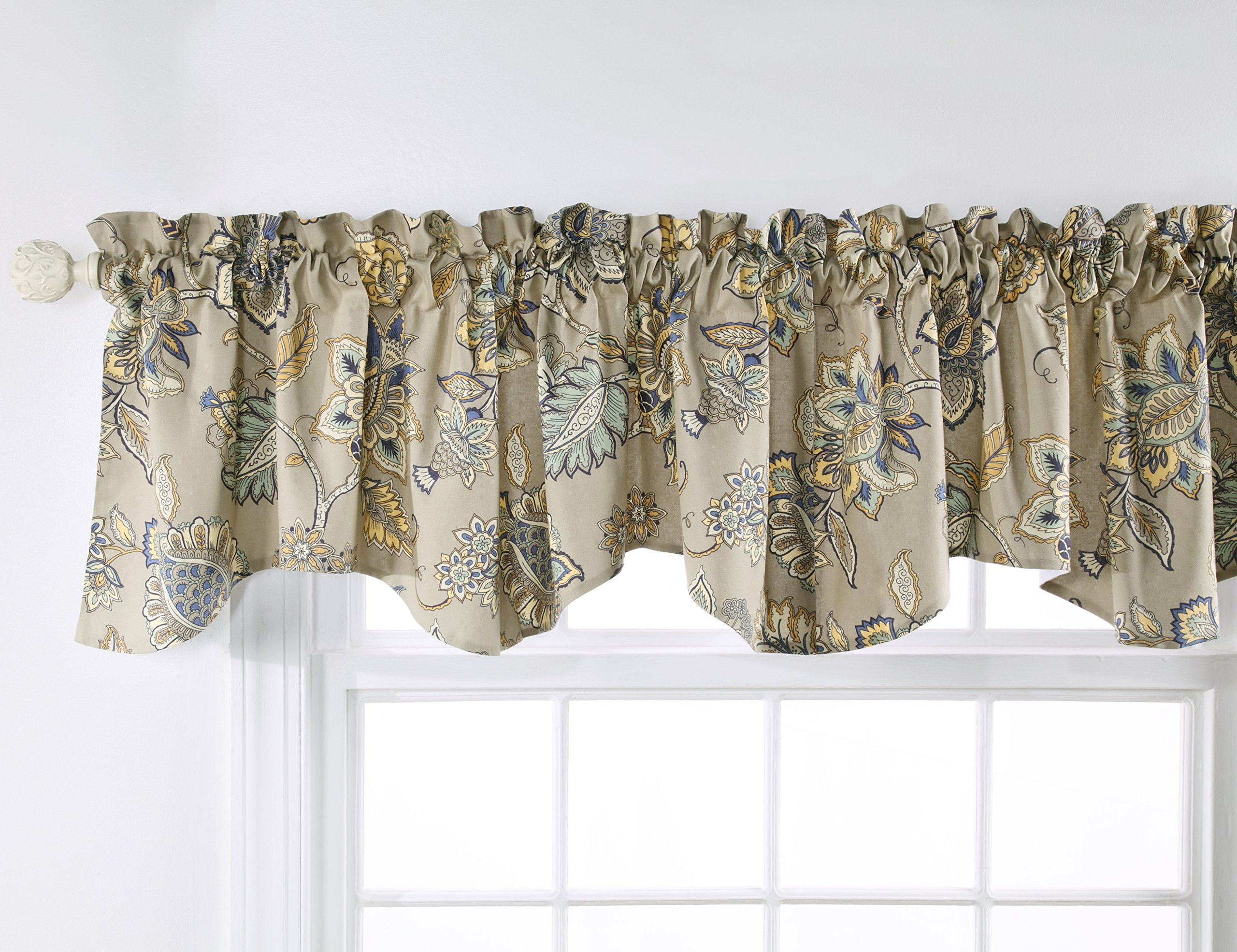Stylemaster Home Products Twill and Birch Celine Lined Printed Scalloped Valance, 56 by 17-Inch, Stone