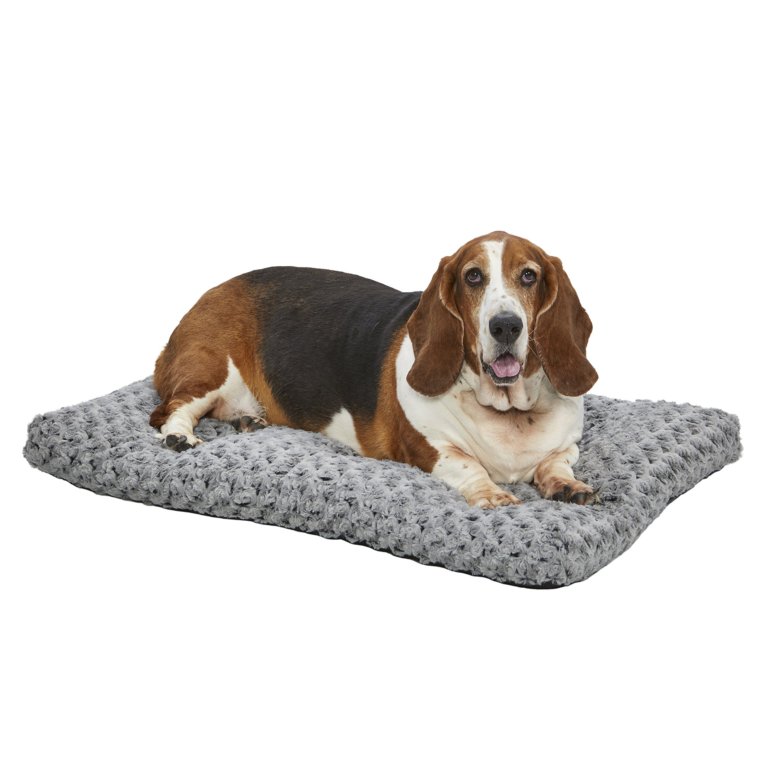 MidWest Homes for Pets Plush Dog Bed | Ombré Swirl Dog Bed & Cat Bed | Gray 35L x 23W x 2H - Inches for Med./Large Dog Breeds