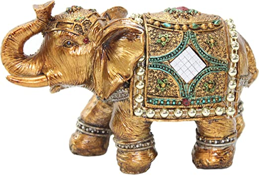 Feng Shui Set of 6 White Elephant Trunk Statues Wealth Figurine Gift Home Decor