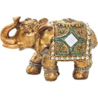 Stunning Gold Colour 15cm Elephant Trunk Statue Wealth Lucky Feng Shui Figurine Home Decor Birthday Congratulatory House…