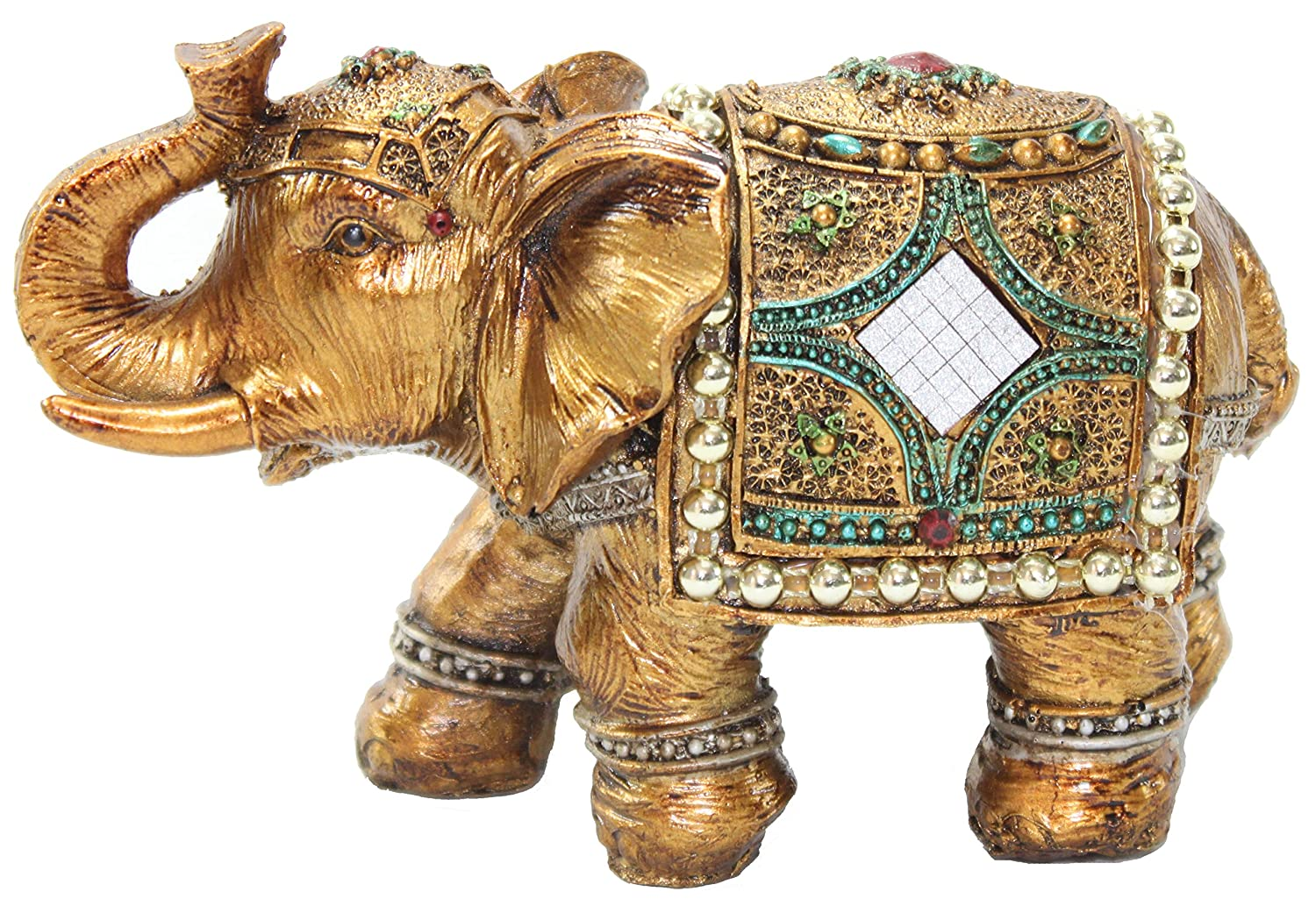 "Stunning Gold Color 6"" Elephant Trunk Statue Wealth Lucky Feng Shui Figurine Home Decor Birthday Congratulatory House Warming Gift US Seller (G16180)"