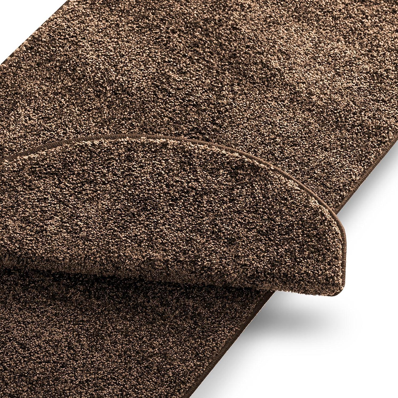 Casa pura Teppich Läufer Uni Nougat   Qualitätsprodukt aus Deutschland   Gut Siegel   Kombinierbar mit Stufenmatten   19 Breiten und 18 Längen (80 x 500cm)