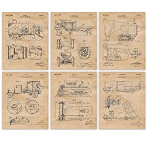 Vintage Construction Trucks Patent Poster Prints, Set of 6 (8x10) Unframed Photos, Wall Decor Gifts Under 20 for Home, Office, Garage, Man Cave, Shop, Teacher, College Student, Transportation Fan