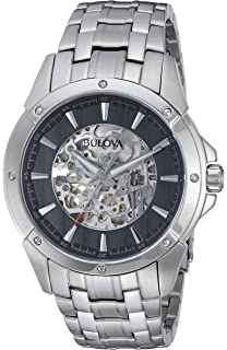 Bulova Automatic Black Dial Stainless Steel Mens Watch 96A170