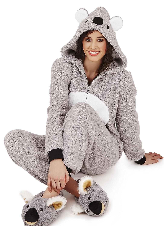 Medium Loungeable Super Soft Womens Fleece Koala Onesie with 3D Ears