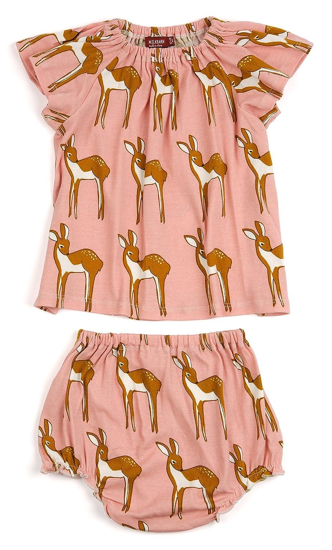 Milkbarn Peasant Dress Bloomer Set (3-6 Months, Rose Doe)