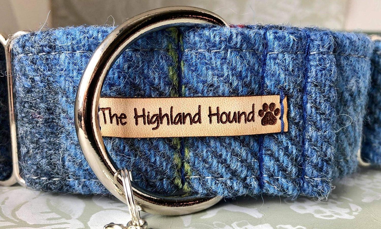 Harris Tweed Hamish 1.5 Martingale Dog Collar Greyhound Lurcher Sighthound Whippet Small Medium Large