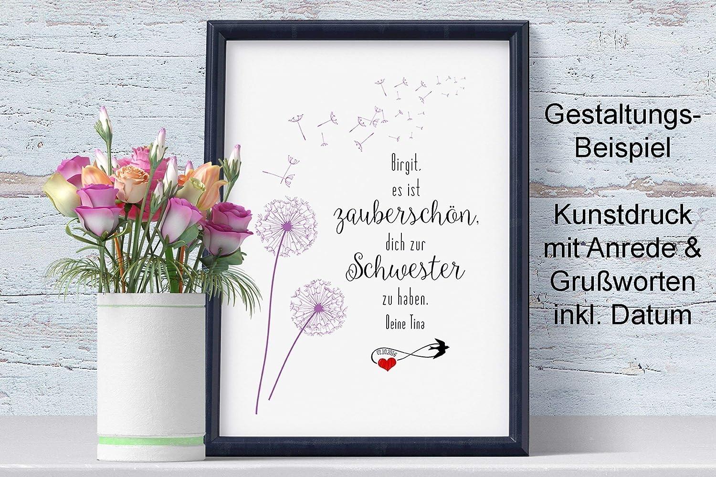 Schwester zauberschön Kunstdruck ohne Rahmen: Amazon.de: Handmade