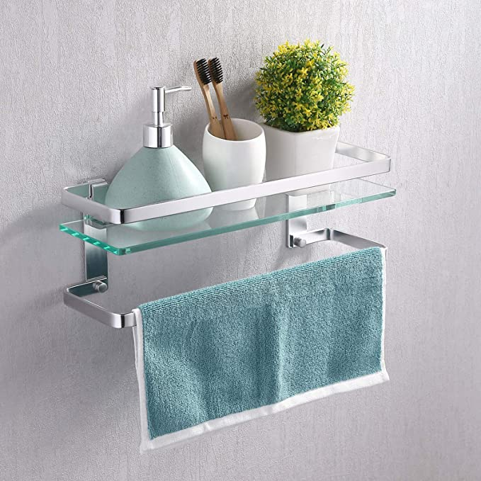 "New in Box Waterworks Bathroom 24/"" Glass Shelf with Nickel Brackets AESF24N"
