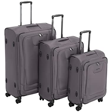 AmazonBasics Premium Expandable Softside Spinner Luggage with TSA Lock