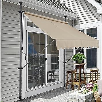pro.tec] Toldo articulado con armazón - Color de Arena - 300 x 120 x 200-300 cm - Toldo Enrollable terraza balcón - Protector de Sol - Parasol: Amazon.es: Hogar