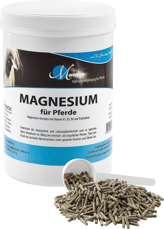 MIGOCKI Caballo de magnesio – 750 g – Complemento alimenticio premium – Ayuda a la serenidad y la capacidad de rendimiento de los caballos – Pellets