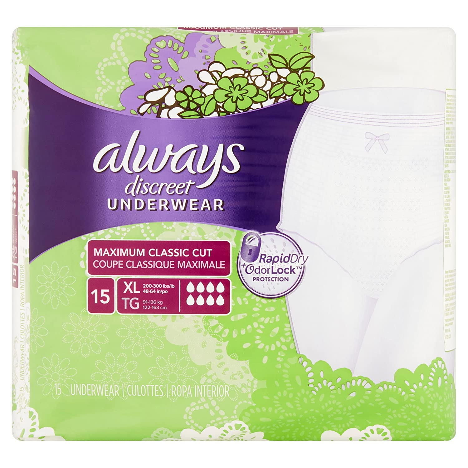 Amazon.com: Always Discreet Incontinence Underwear, XL Maximum, 15 ea - 2pc: Health & Personal Care