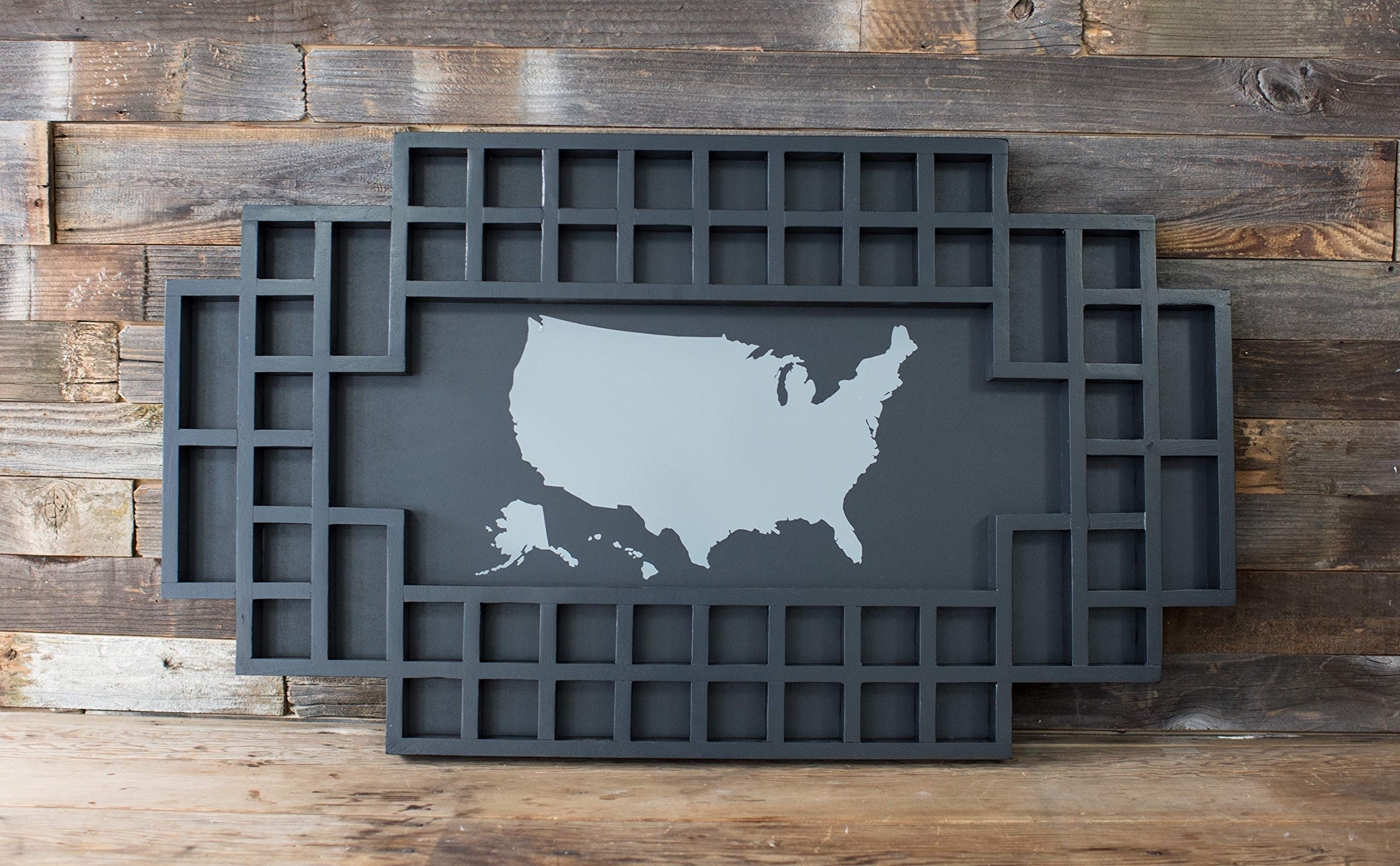 Shot Glass Display Frame - 52 Spaces - Solid Wood Frame - World Map - US Map (Black, US Map) by Reno Direct LLC (Image #2)