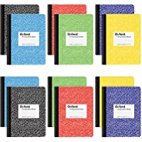 """Oxford Composition Notebooks, Wide Ruled Paper, 9-3/4"""" x 7-1/2"""", Assorted Marble Covers, 100 Sheets, 12 per Pack, Colors…"""