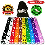 100 Dice Set, 10 Different Colors, 10 Dice of Each Color, 16mm D6 Dice, FREE Velvet Carry Bag, Great for Games Like: Tenzi, Farkle, Yahtzee, Bunco or Teaching Math
