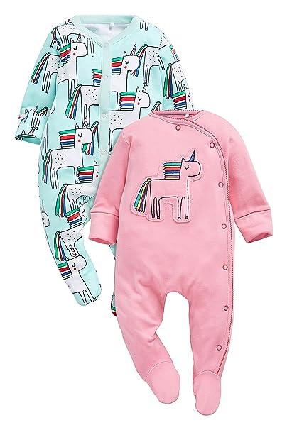 next Bebé Niña Pack De Dos Pijamas Tipo Pelele con Unicornio (0 Meses - 2