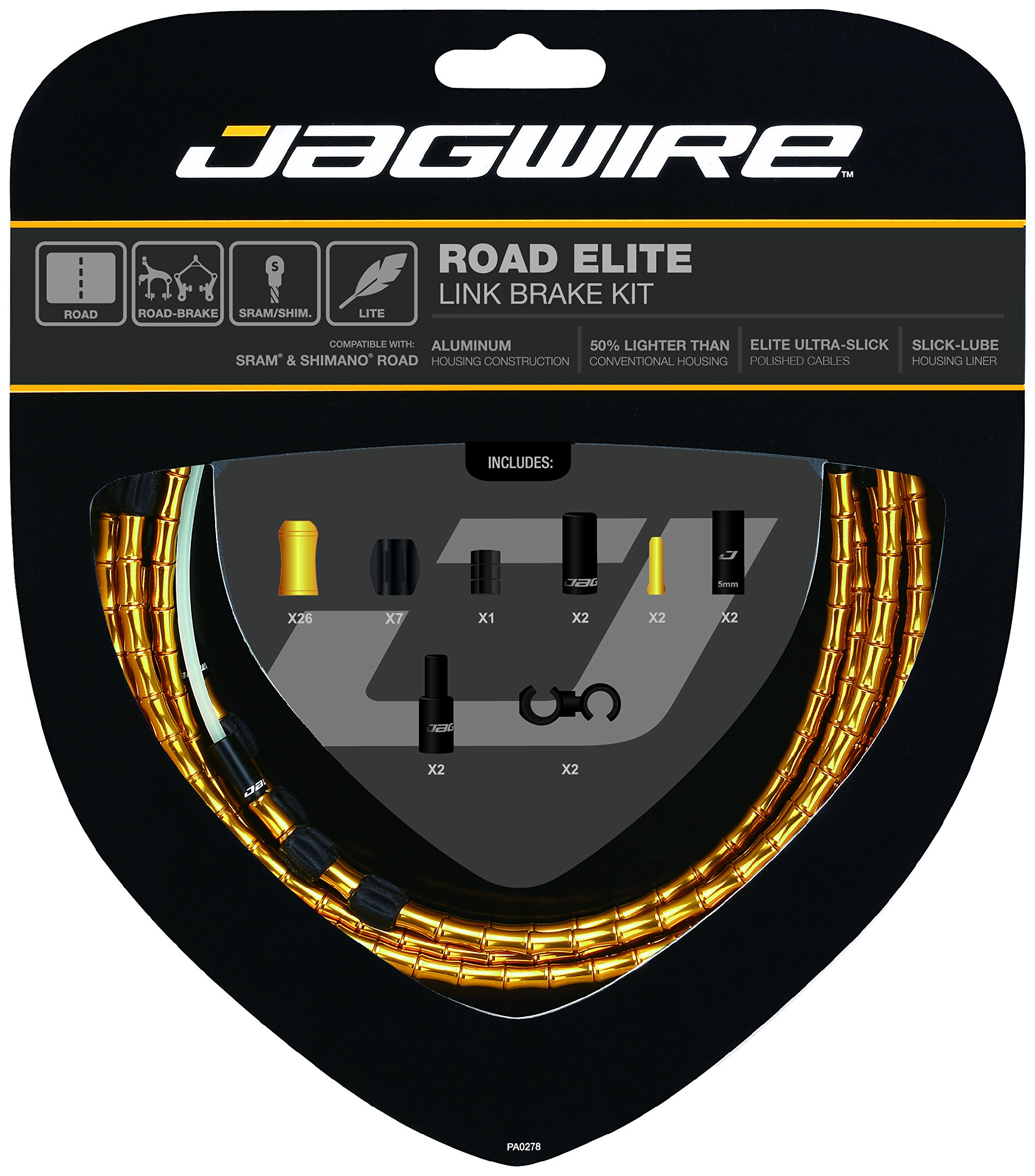 Jagwire Road Elite Link Brake Cable Kit Gold, One Size by Jagwire