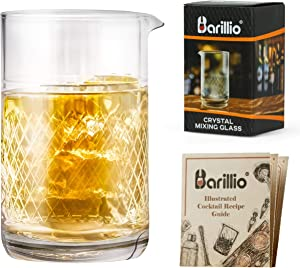 Barillio 20 Oz Crystal Cocktail Mixing Glass Set   Seamless Mixing Pitcher for Stirred Cocktail with Weighted Bottom   Old Fashioned Kit for Bartenders