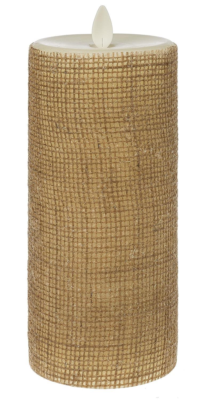 リモートReady内蔵タイマー付きアイボリー黄麻布3 x 7ワックスLED Pillar Candle B07CLNZBXD 19543