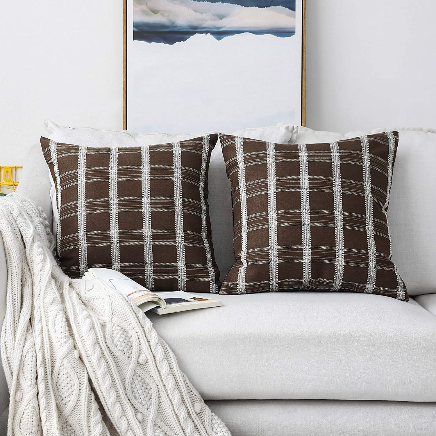 Home Brilliant Cushion Covers Decor Striped Checker Decorative Throw Pillow Covers for Couch Bench Sofa, 2 Pack, 18 x 18, Brown