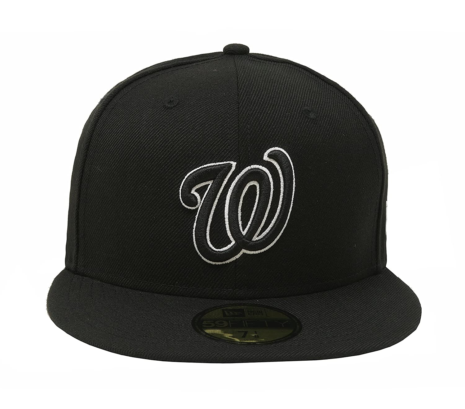 huge discount ad682 8c6f7 Amazon.com  New Era 59Fifty Men s Hat Washington Nationals Black White  Fitted Headwear Cap  Clothing