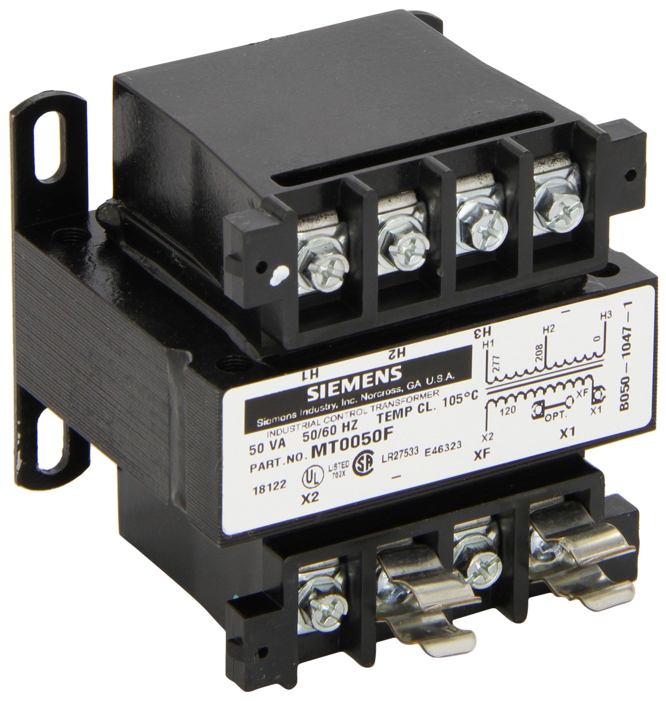 Siemens MT0050F Industrial Power Transformer, Domestic, 208/277 Primary Volts 50/60Hz, 120 Secondary Volts, 50VA Rating