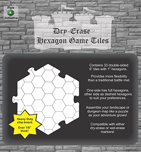Role 4 Initiative Dry Erase Hexagon Dungeon Tiles - Pack of 33 Six Inch  Tiles