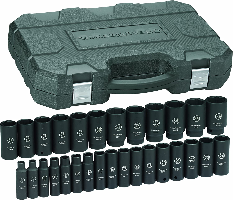 12-Piece GearWrench 84930N 1//2-Inch Drive Metric Impact Socket Set