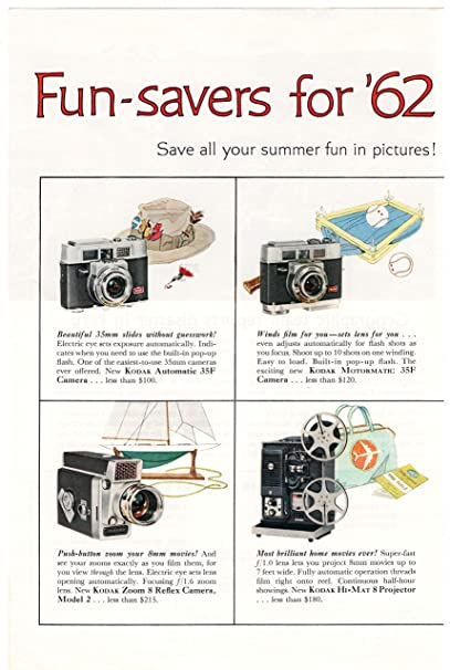 Amazon Com Eastman Kodak Camera S Fun Saver For 62 From Kodak 1962 Vintage Ad 922 2 Pages Toys Games