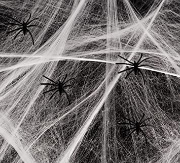 Playo Halloween Spider Webs With Plastic Spiders - 6 packs of Halloween  Stretchable Spider Webbing Decorations
