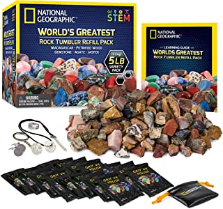 NATIONAL GEOGRAPHIC Rock Tumbler Refill – 2268g Mix of Rocks and Gemstones for Rock Tumblers, Includes Agate, Jasper, Petrified Wood, Gemstone, and More, 5 Jewelry Settings and Polishing Grit