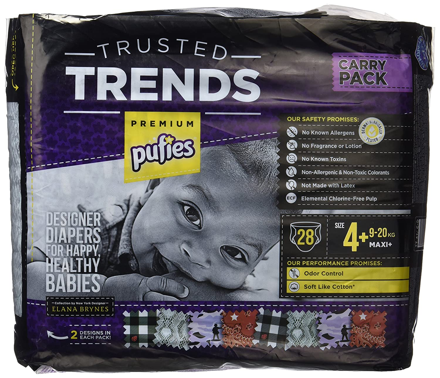 Pufies Trusted Trends Gingham - 28 Pañales, talla 4+, 9-20 kg Ficosota